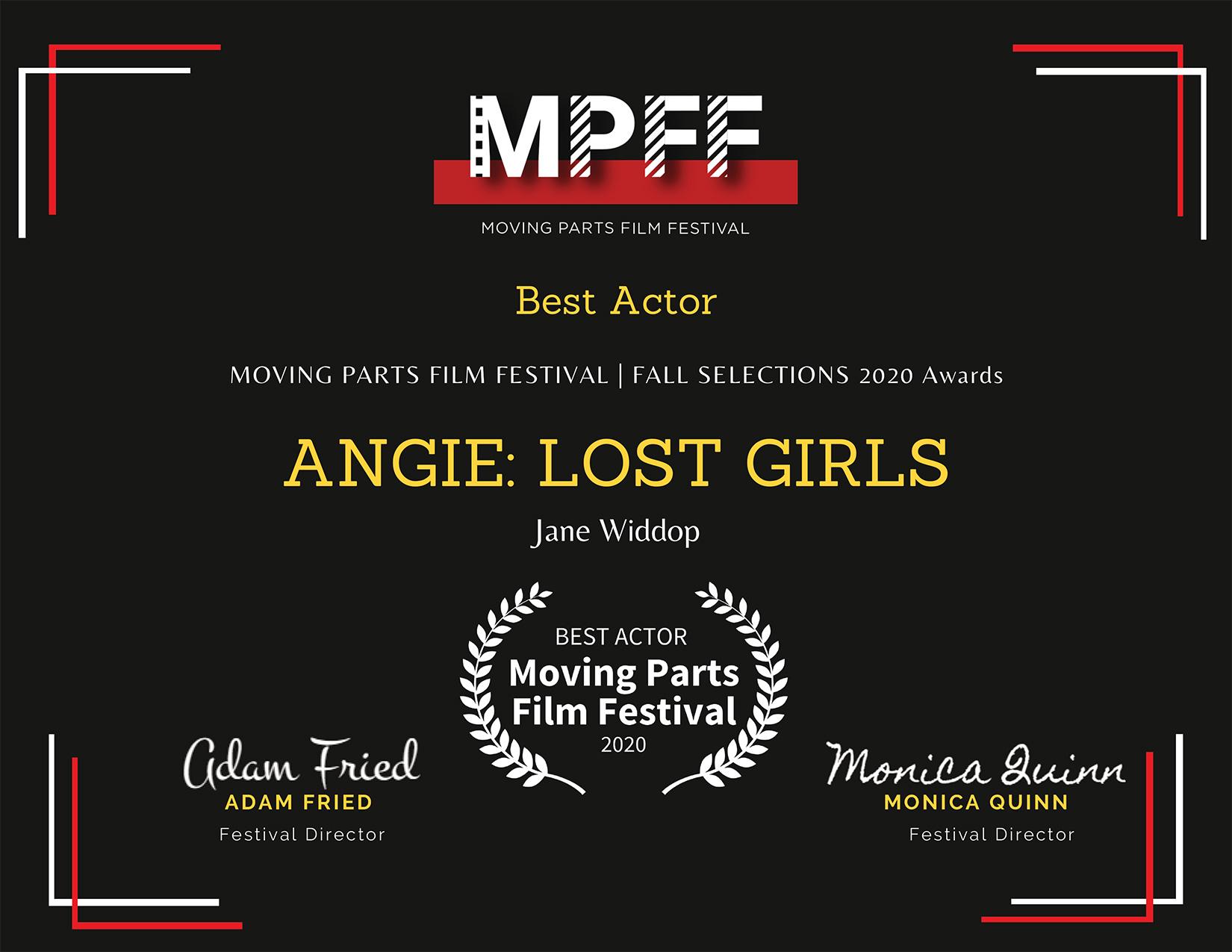 Best Actor Jane Widdop MPFF
